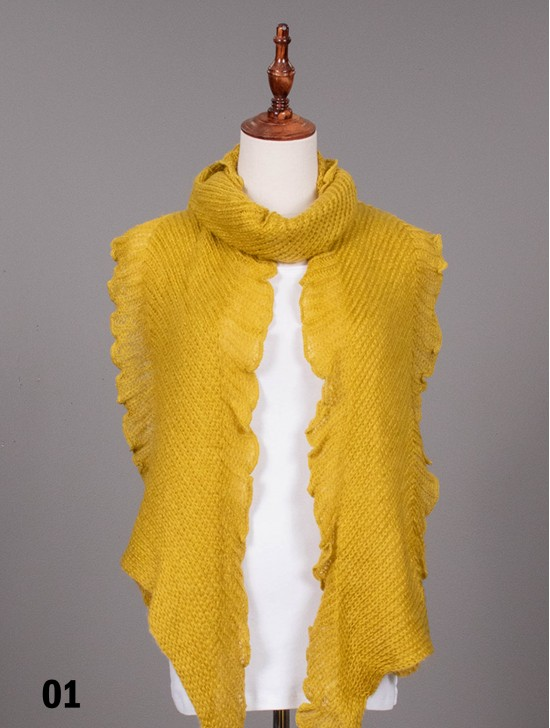 Long Knitted Ruffle Scarf